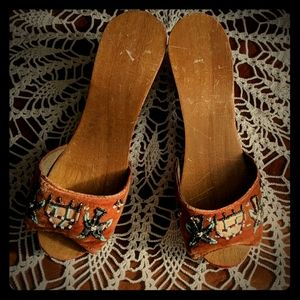 WWII vintage hand carved wood sandals